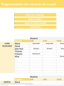 modele de programmation des horaires de travail des employés