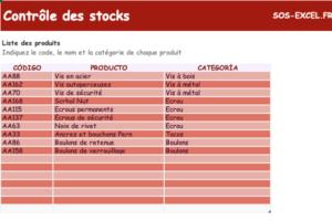 modele excel de control de stock