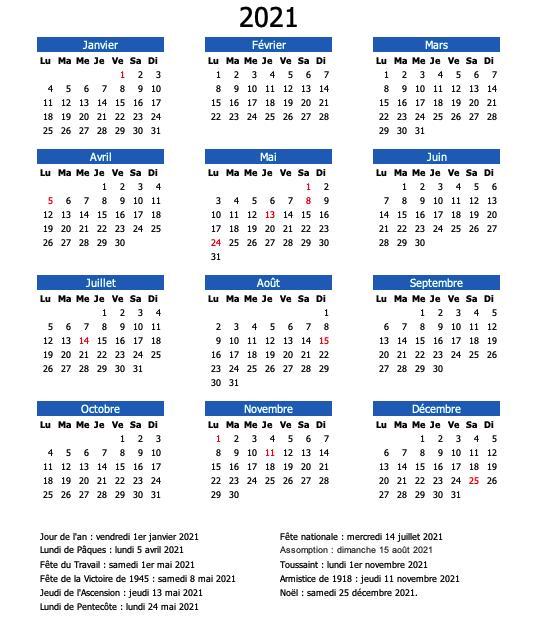 calendrier bleu 2021