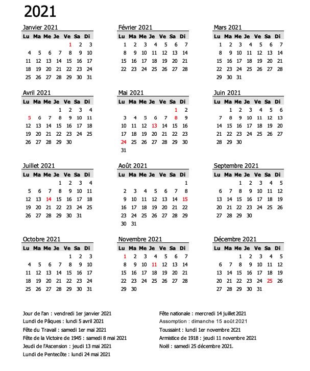 calendrier gris 2021