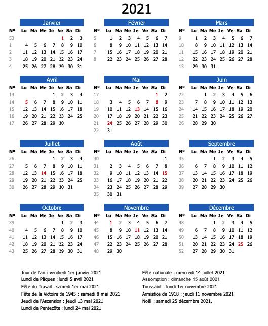 calendrier semaine 2021 bleu