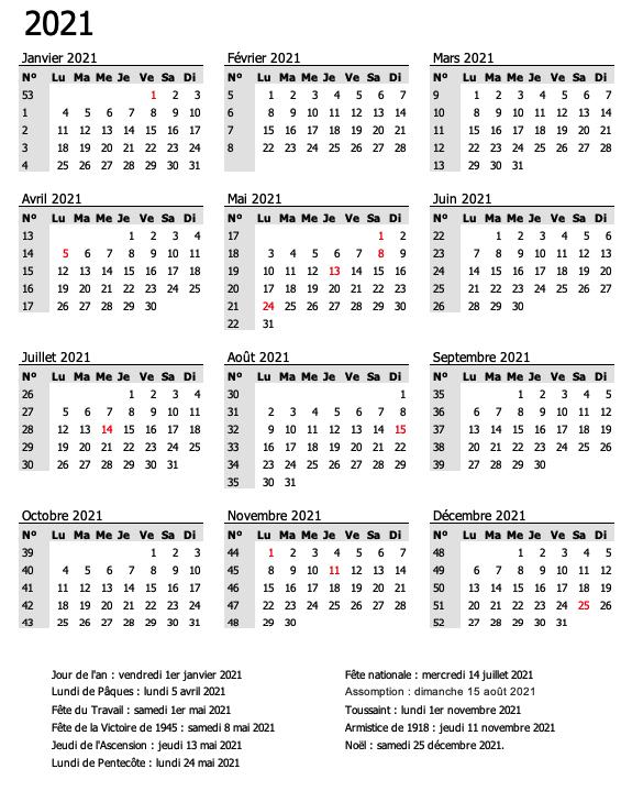 calendrier semaine gris 2021