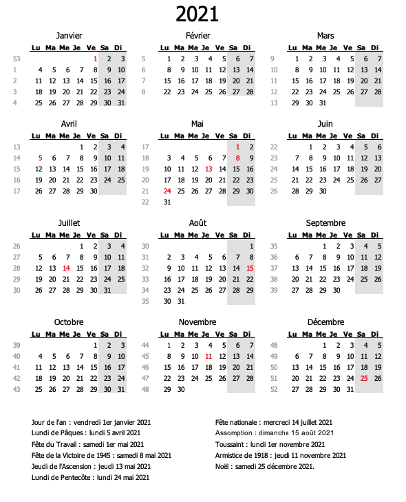 calendrier semaine weekend 2021